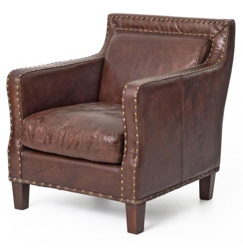 Alcott Vintage Cigar Distressed Leather Club Arm Chair