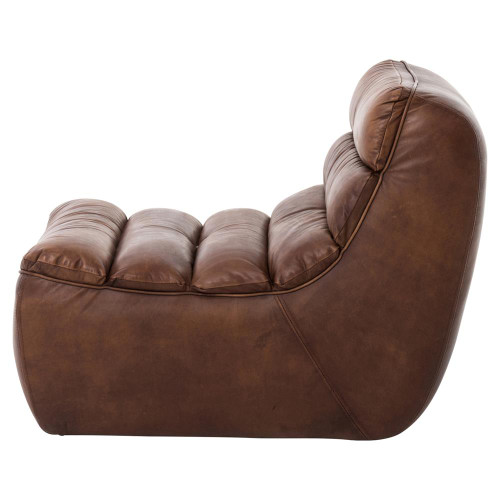 ... Magna Antique Whiskey Leather Armless Lounge Chair ...