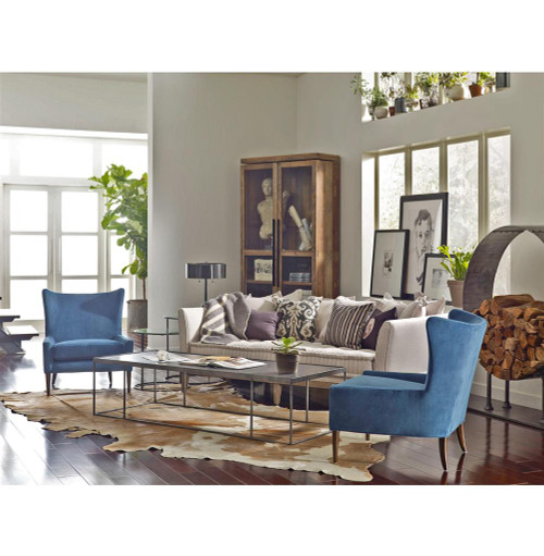 Marlow Upholstered Blue Wing Back Chair | Zin Home