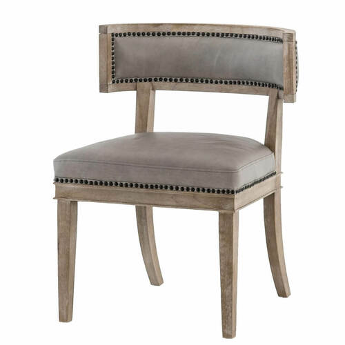 Carter Curved Back Light Grey Leather Dining Chair