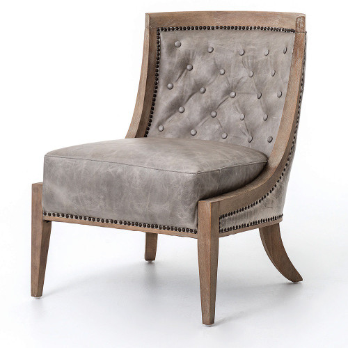 Livingroom leather slipper chair in grey leather