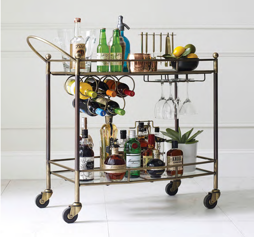 Coles Antique Brass and Glass Bar Cart