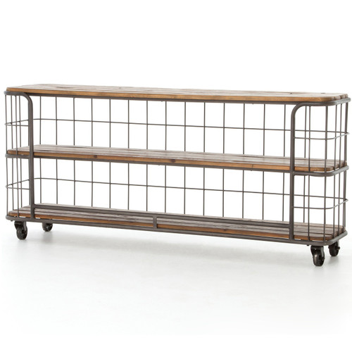 Industrial Rustic Black Metal + Wood Baker Console Table with wheels