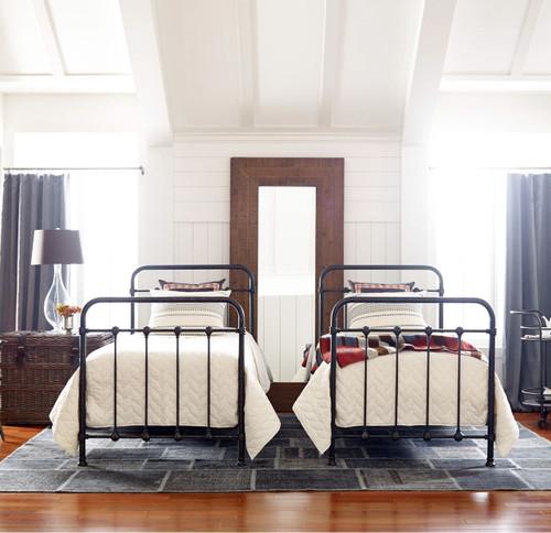 Kingsley Vintage Black Iron Twin Platform Bed Frame