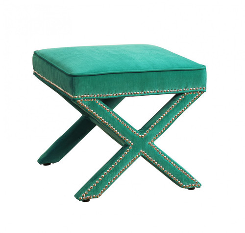 Reese Green Velvet Ottoman Footstool