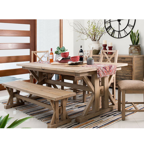 Coastal Rustic Solid Wood Trestle Dining Room Bench Zin Home