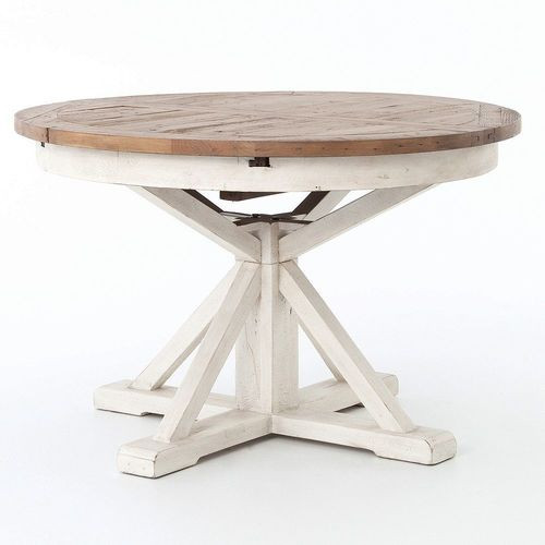 Cintra Reclaimed Wood White Expandable Round Dining Table 47 Zin Home