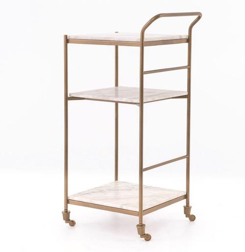 Felix Antique Brass and Marble Slim Bar Cart