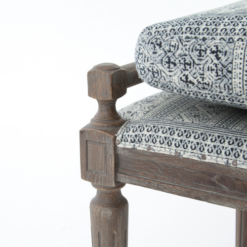 Super Lucille Batik Indigo Upholstered Bed End Bench Onthecornerstone Fun Painted Chair Ideas Images Onthecornerstoneorg
