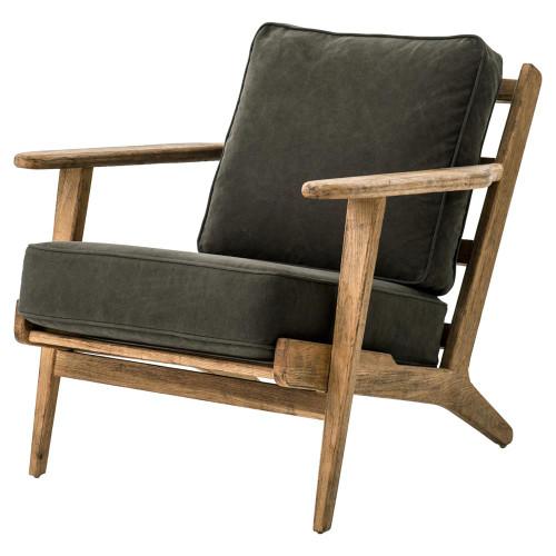 Mid-Century Modern Dark Green Upholstered Oak Club Chair