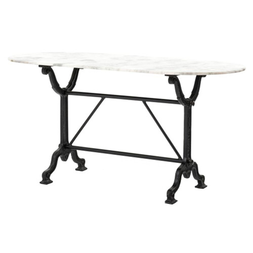 Industrial Loft Black Iron White Marble Desk Console Table