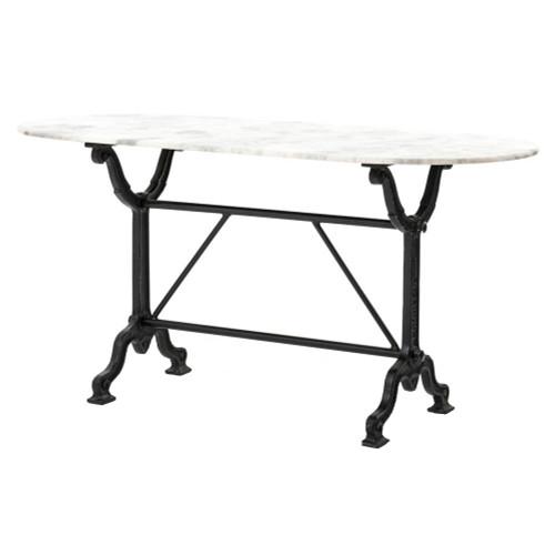 Industrial Loft Black Iron White Marble Desk Console Table
