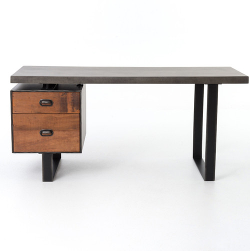Clapton Industrial Concrete + Wood Desk with File Drawer