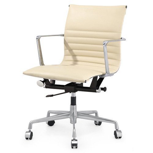 Beige Italian Leather M346 Modern Office Chairs Zin Home