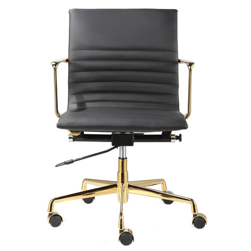 Terrific Black Italian Leather Gold M346 Modern Office Chairs Ocoug Best Dining Table And Chair Ideas Images Ocougorg