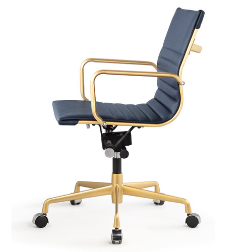 Gold And Navy Blue Vegan Leather M348 Modern Office Chairs