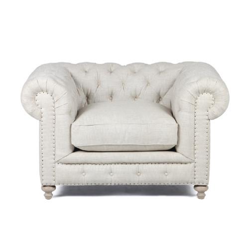 Warner Linen Chesterfield Chair