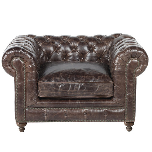 Warner Leather Chesterfield Arm Chair