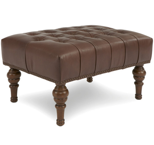 Gus Antiqued Whiskey Tufted Leather Ottoman