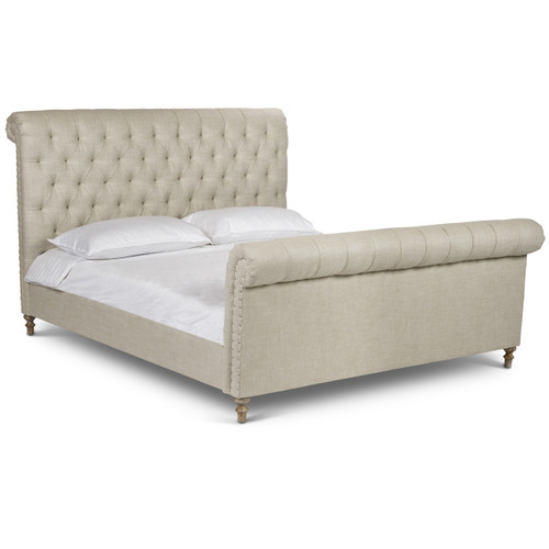 Finn Chesterfield Tufted Linen King Sleigh Bed