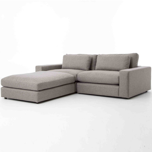 Bloor Gray Contemporary 3 Piece Small Sectional Sofa