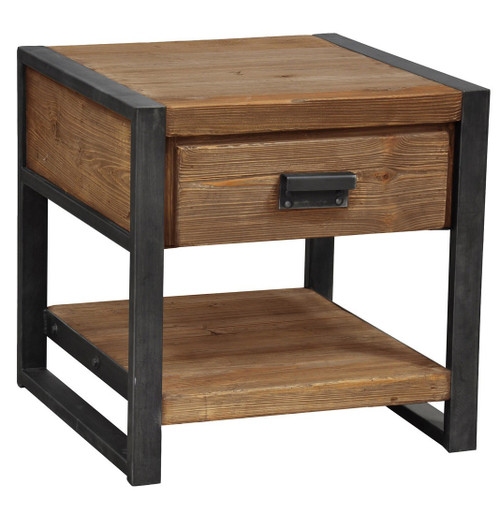 Rustic Industrial 1-Drawer End Table