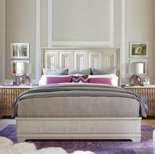 California Rustic White Oak King Panel Bed, Malibu