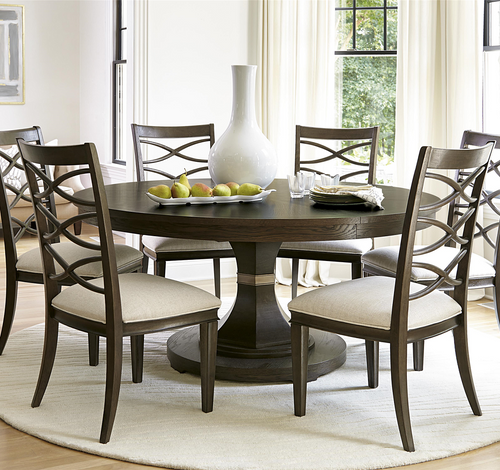 California Rustic Oak Expandable Round Dining Table