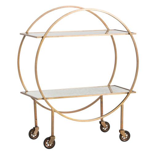 Rupert Antique Brass Bar Cart