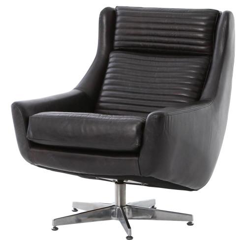 Charles Retro Black Leather Swivel Chair