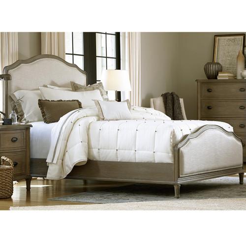 French Oak Camelback King Upholstered Panel Bed