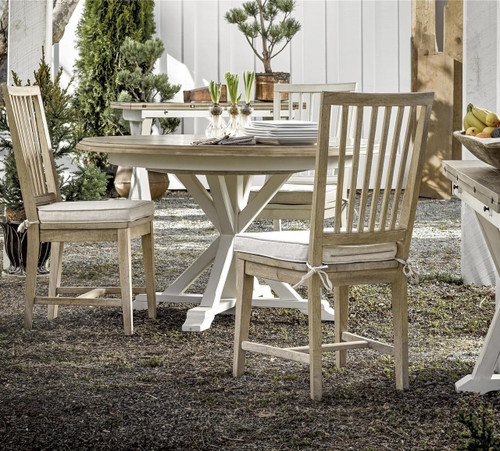 Coastal Beach White Oak Round Expandable Dining Table 54\