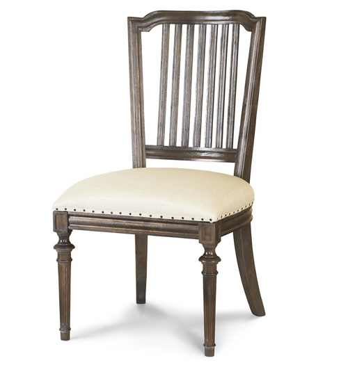 French Oak Ladder Back Upholstered Louis Dining Chair ...