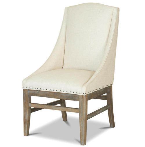 French Weathered Oak Nailhead Upholstered Dining Arm Chair