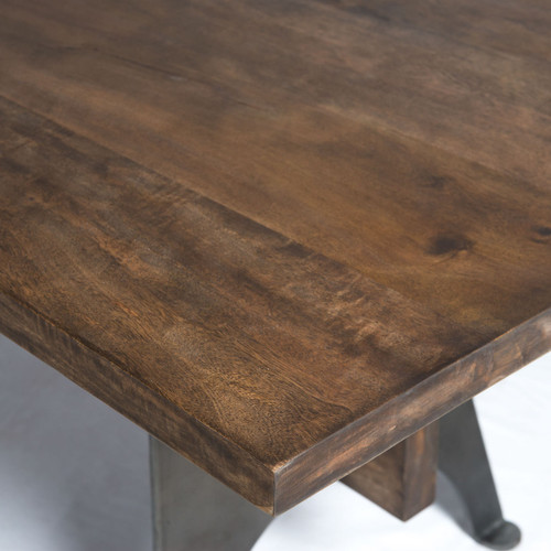 Industrial Mango Wood Metal Dining Table Zin Home