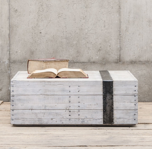Van Thiel & Co.Scaffolding White Washed Reclaimed Wood Block Coffee Table
