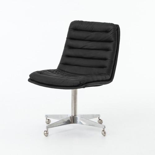 Malibu Distressed Black Leather Office Desk Chairs