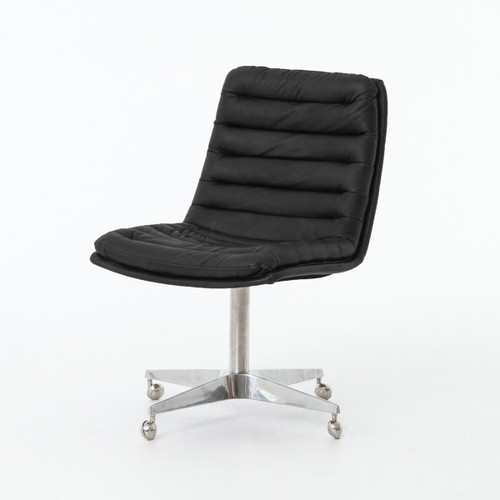 Malibu Distressed Black Leather Office Desk Chairs