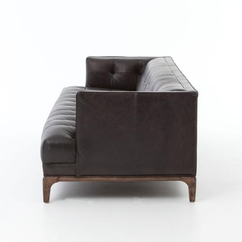 Dylan Mid-Century Modern Blind Tufted Black Leather Sofa