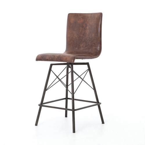 Diaw Distressed Leather Swivel Counterstool