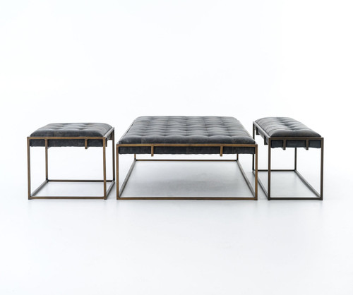 Oxford Tufted Black Leather Ottoman Coffee Table sale | Zin Home
