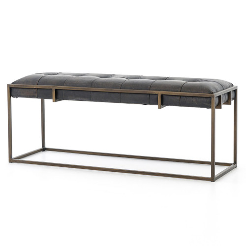 Oxford Tufted Black Leather Bench 43""
