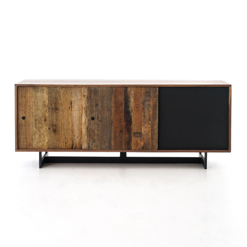 Anderson Industrial Rustic Oak Wood And Metal Media Console Zin Home