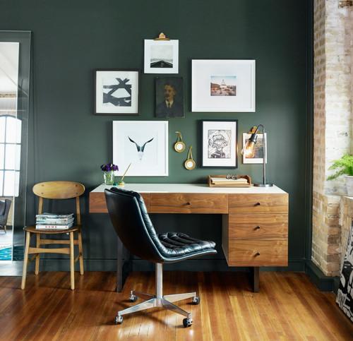 Mid-Century Modern White Lacquer Desk- Walnut