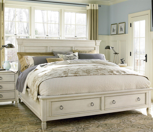 Country Chic Wood King Size White Storage Bed Zin Home
