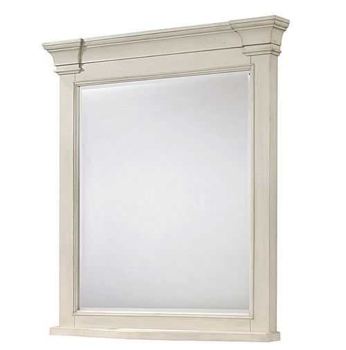 Country-Chic Maple Wood Bedroom Mirror, White