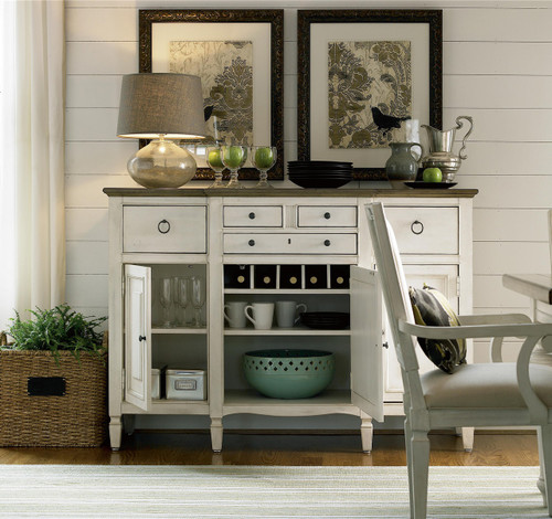 Country Chic Maple Wood White Buffet With Wine Glass Rack