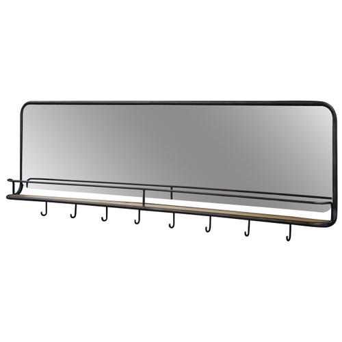 Catlin Industrial Entryway Wall Mirror with Reclaimed Wood Shelf