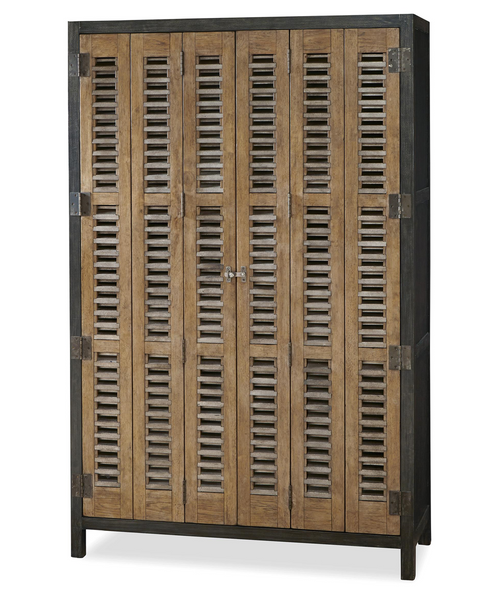 French Modern Industrial Vintner's Bar Cabinet with folding doors