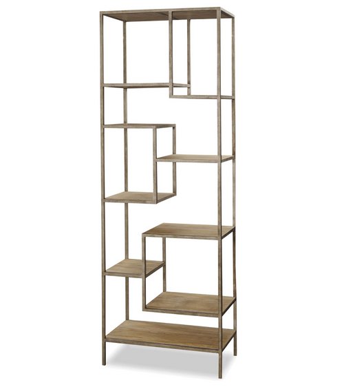 French Modern Industrial Wood + Metal Bookcase Etagere